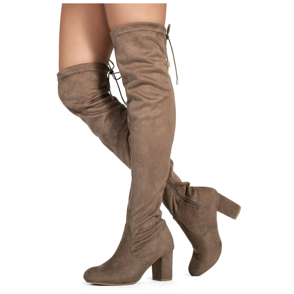 Medium Calf Over The Knee Chunky Heel Stretch Boots TAUPE