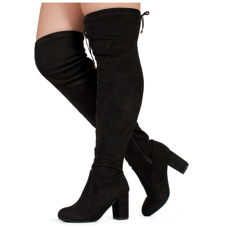 RF Chateau-30W Thigh High Over The Knee Block Chunky Heel Pointy Round Toe Boots BLACK-WIDE CALF SUEDE