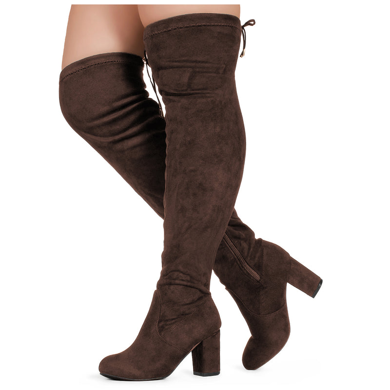 """Wide Calf"" Over The Knee Chunky Heel Stretch Boots BROWN"
