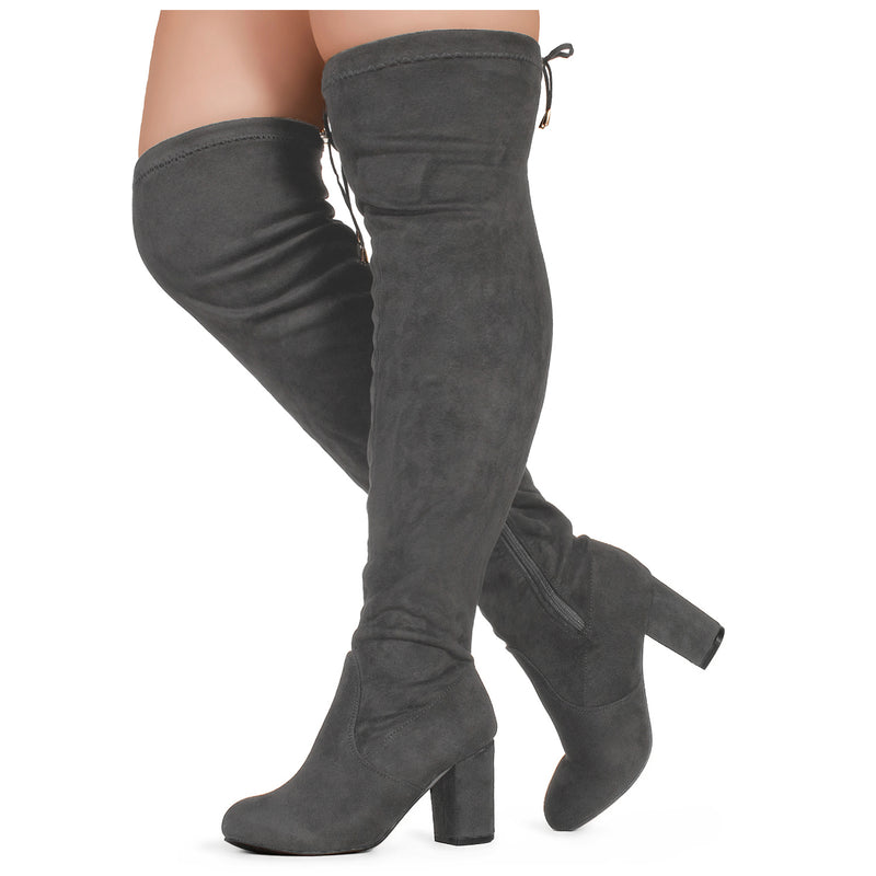 """WIDE CALF"" Over The Knee Block Chunky Heel Stretch Boots GREY"