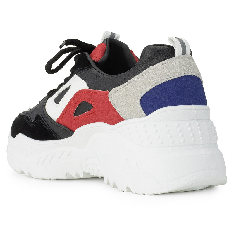 Colorblock Dad Sneakers Lace-up Chunky Platform Shoes BLACK