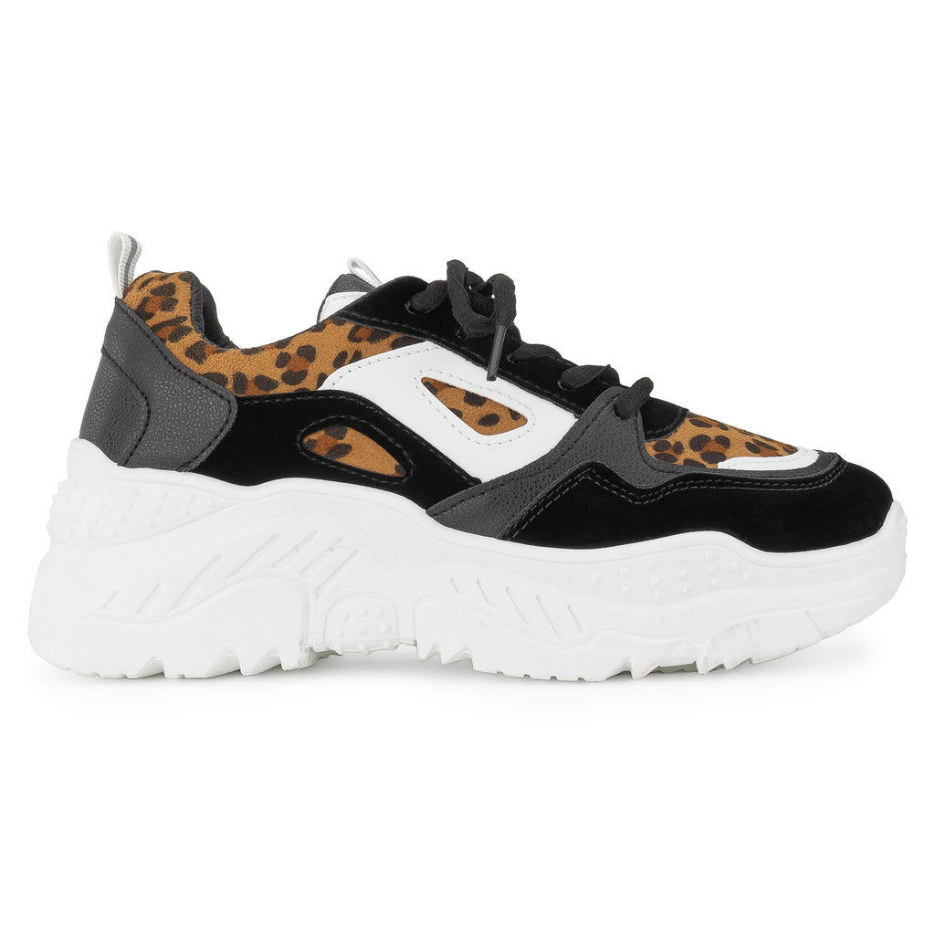 Colorblock Dad Sneakers Lace-up Chunky Platform Shoes LEOPARD