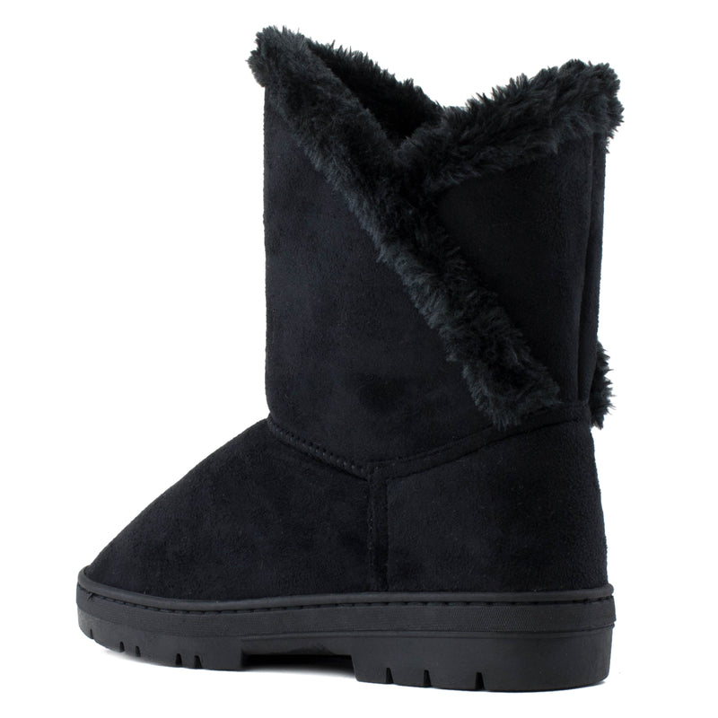 Women's Shearling Faux Fur Lined House Slipper Winter Boots BLACK