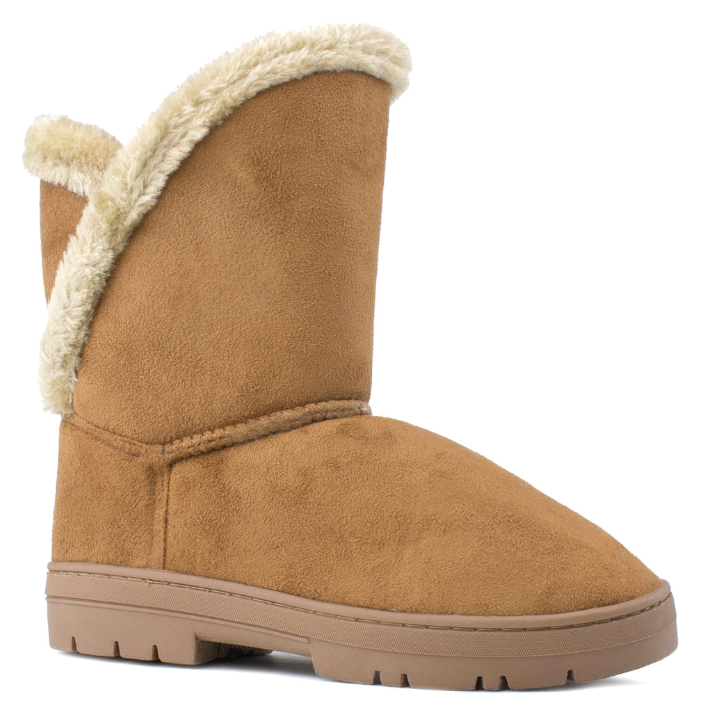 Women's Shearling Faux Fur Lined House Slipper Winter Boots CHESTNUT
