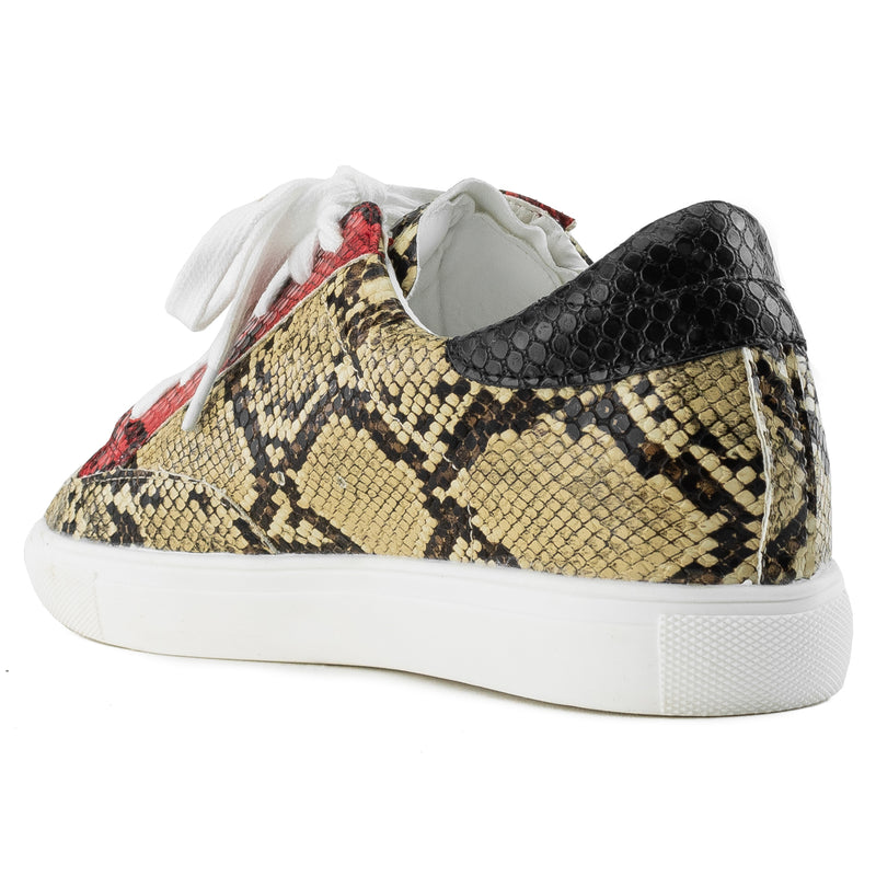 Women's Casual Low Top Trendy Fashion Sneakers Flats BEIGE SNAKE