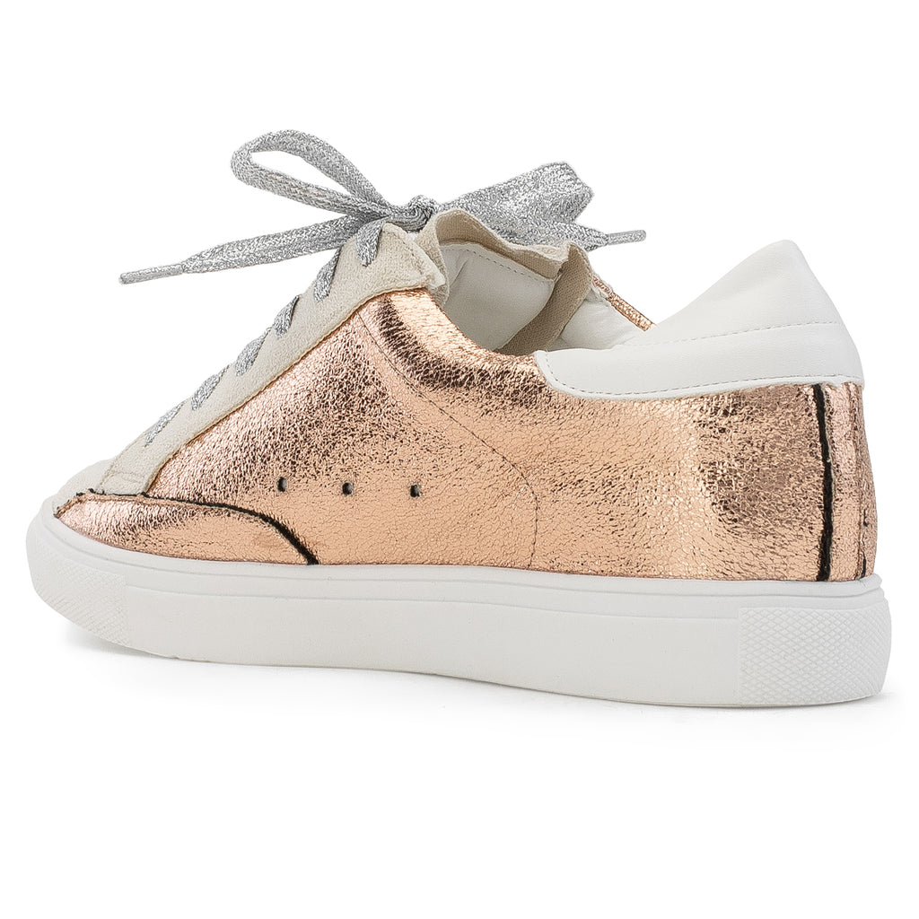 Women's Casual Low Top Trendy Fashion Sneakers Flats ROSE GOLD