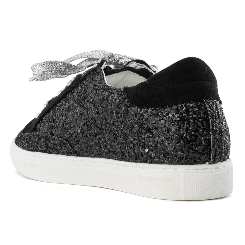 Women's Casual Low Top Trendy Fashion Sneakers Flats BLACK GLITTER