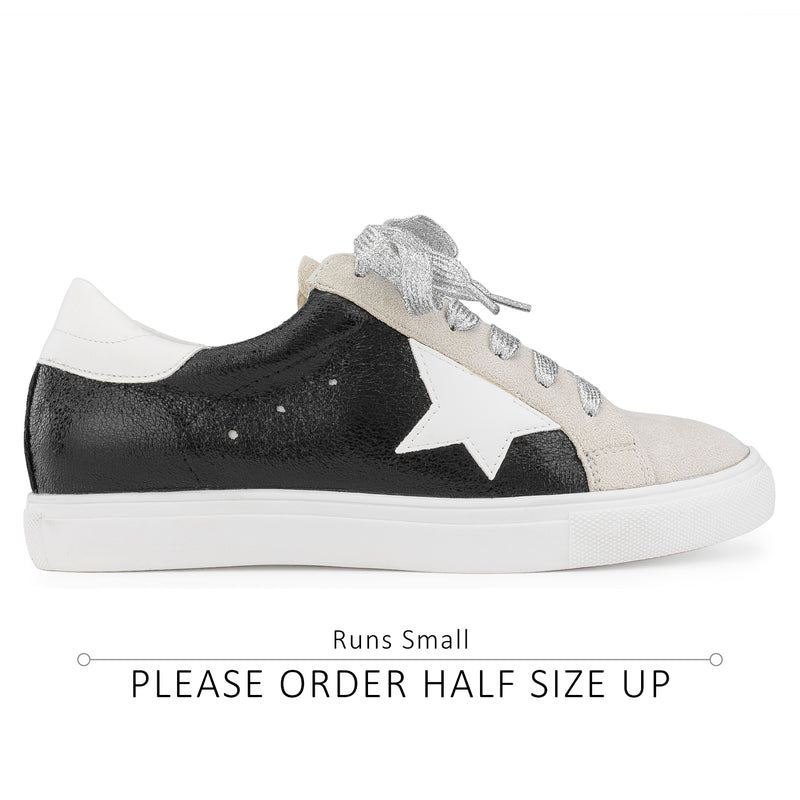 Women's Casual Low Top Trendy Fashion Sneakers Flats BLACK METALLIC