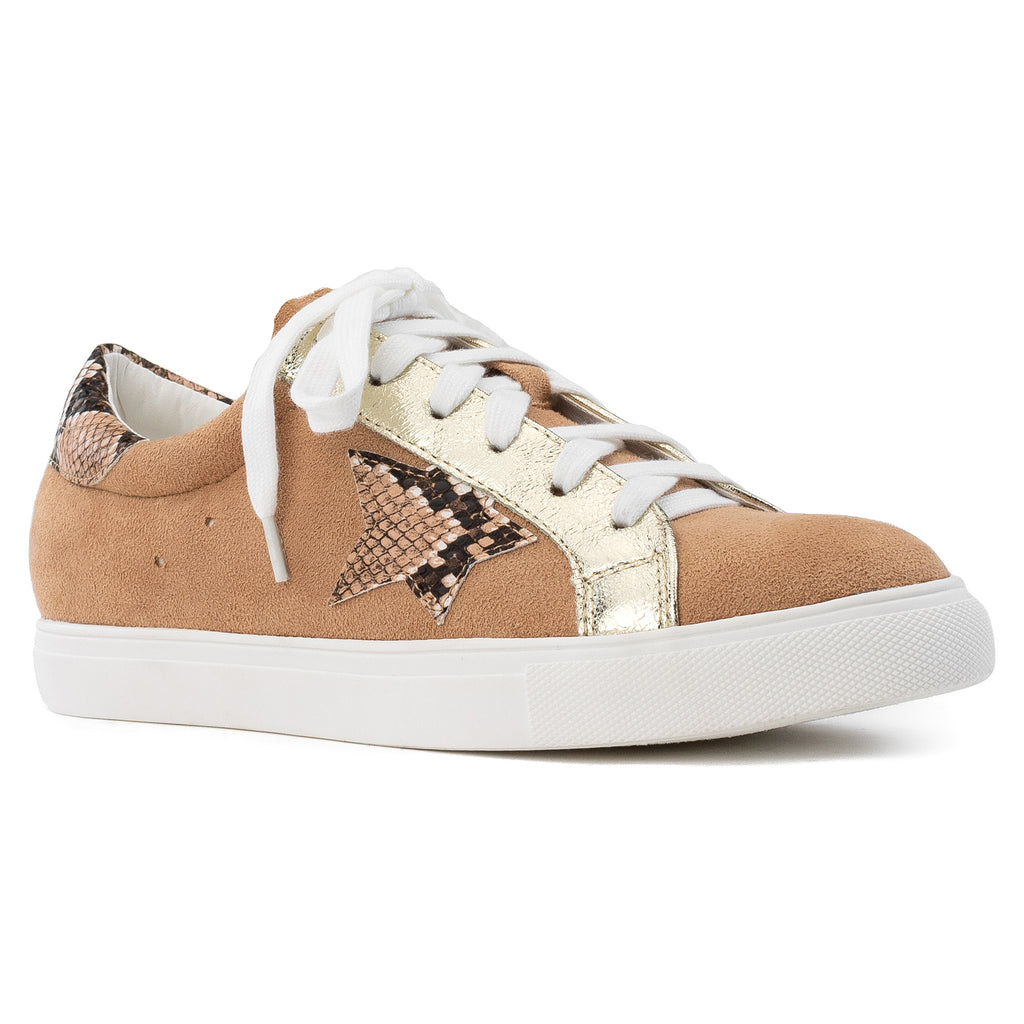 Women's Casual Low Top Trendy Fashion Sneakers Flats CAMEL SUEDE