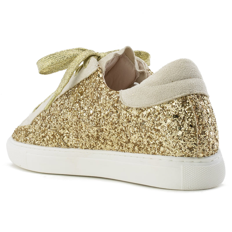 Women's Casual Low Top Trendy Fashion Sneakers Flats GOLD GLITTER