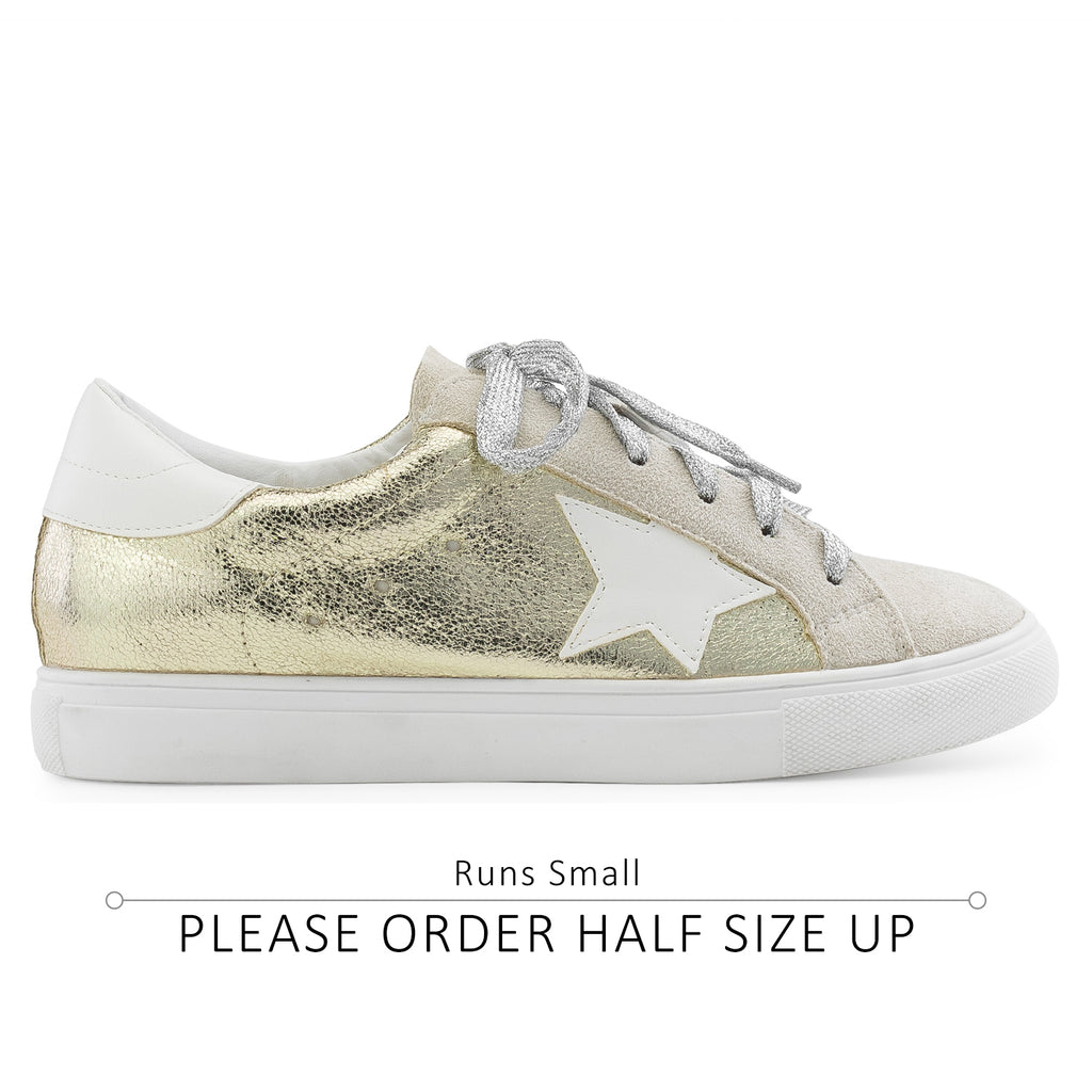 Women's Casual Low Top Trendy Fashion Sneakers Flats GOLD METALLIC