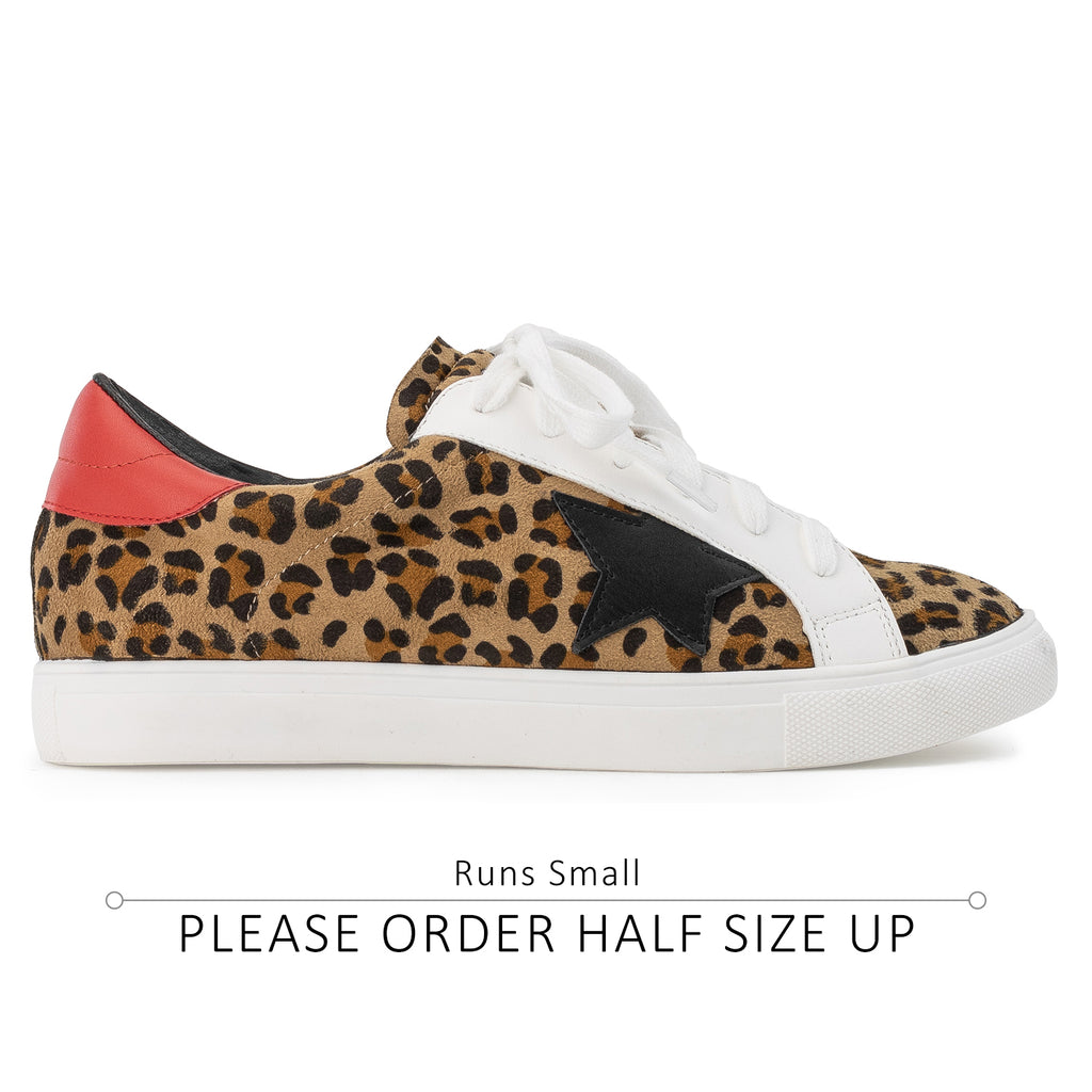 Women's Casual Low Top Trendy Fashion Sneakers Flats LEOPARD