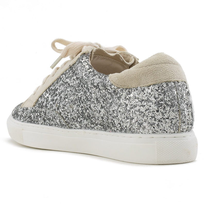 Women's Casual Low Top Trendy Fashion Sneakers Flats SILVER GLITTER