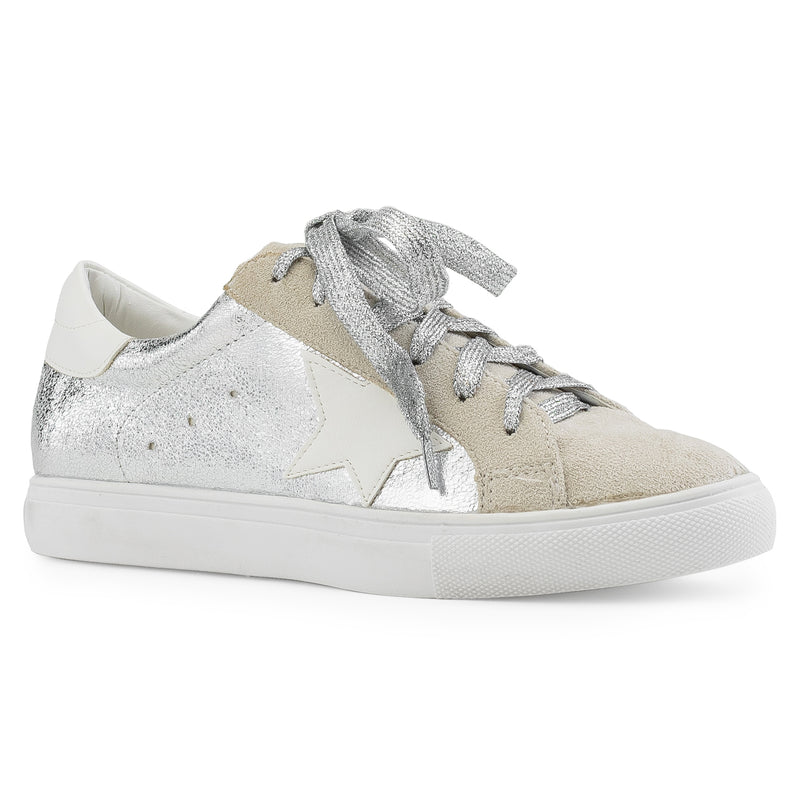 Women's Casual Low Top Trendy Fashion Sneakers Flats SILVER METALLIC