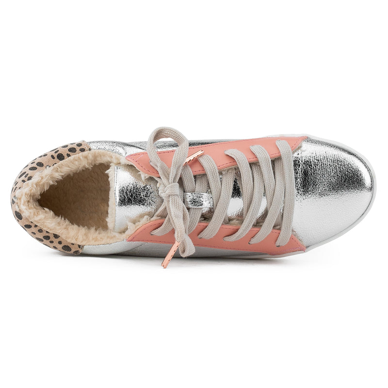 Women's Casual Low Top Trendy Fashion Sneakers Flats SILVER MET