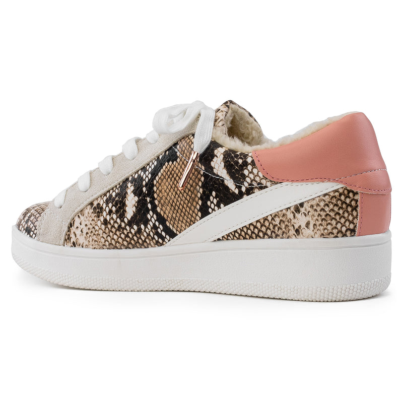 Women's Casual Low Top Trendy Fashion Sneakers Flats SNAKE PU
