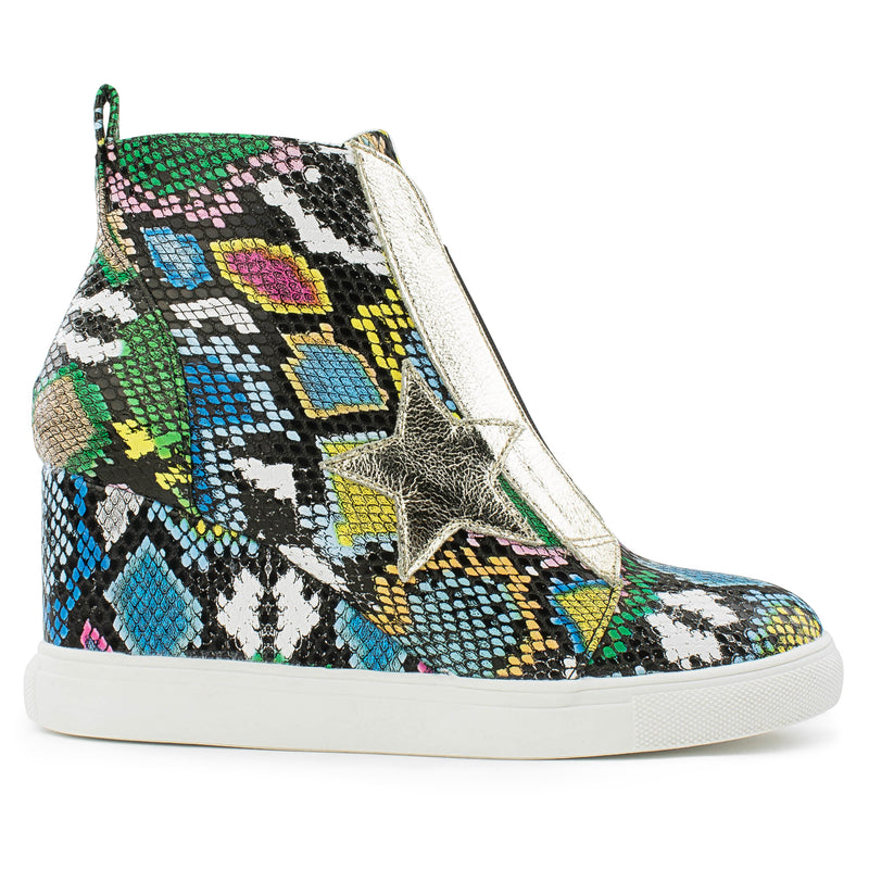 Women's Trendy High Top Star Bootie Sneakers with Zip Closure MULTI SNAKE