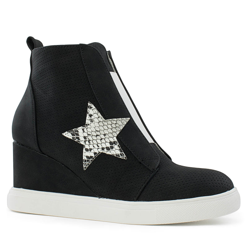 Women's Trendy High Top Star Bootie Sneakers with Zip Closure BLACK