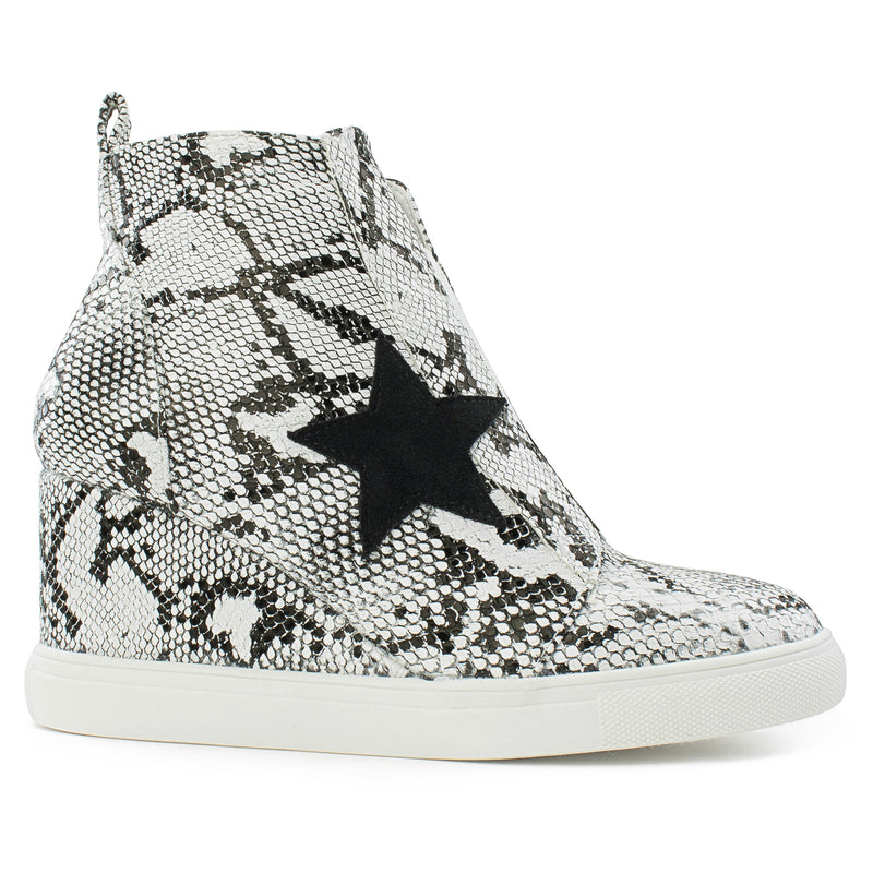 Women's Trendy High Top Star Bootie Sneakers with Zip Closure SNAKE