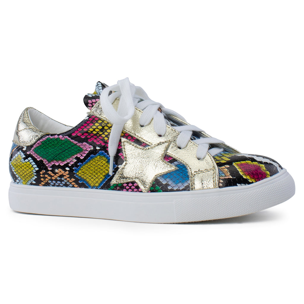 Women's Casual Low Top Trendy Fashion Sneakers Flats SNAKE MULTI PU