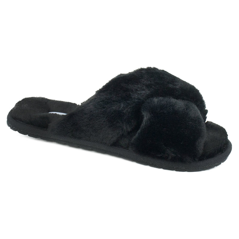 Women's Comfy Criss Cross Lounging Faux Fur Sandal Slippers BLACK