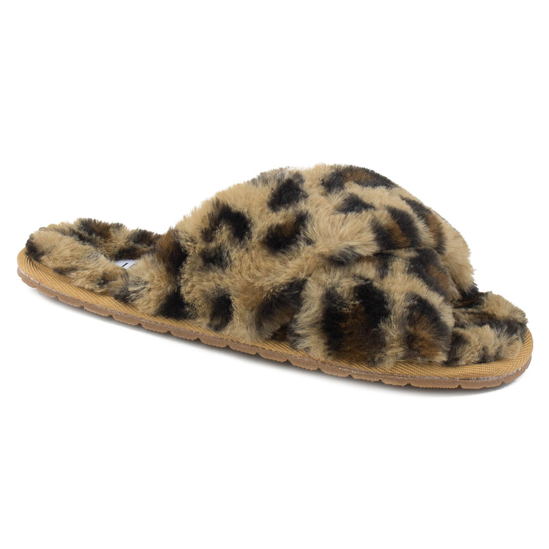 Women's Comfy Criss Cross Lounging Faux Fur Sandal Slippers LEOPARD