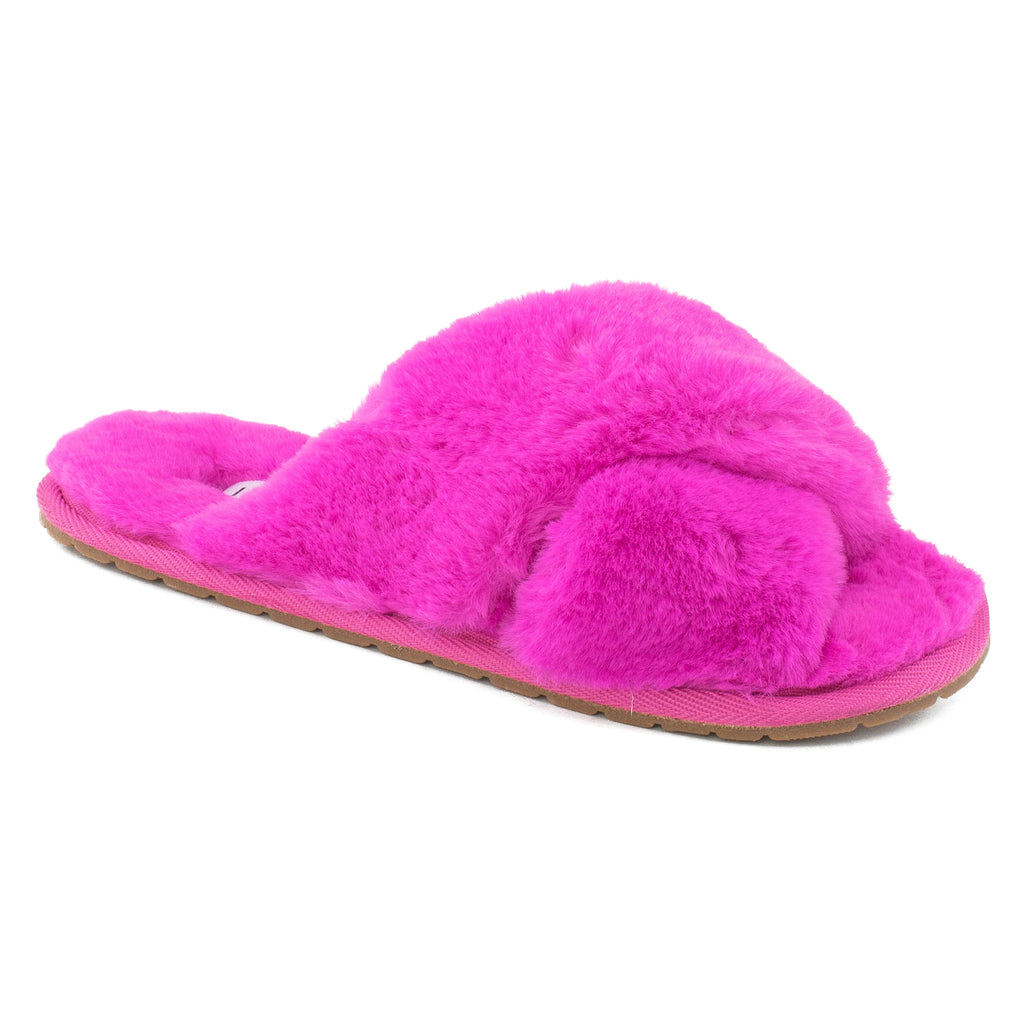 Women's Comfy Criss Cross Lounging Faux Fur Sandal Slippers PINK