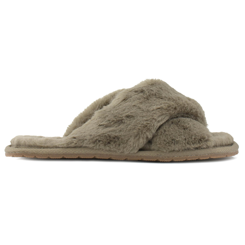 Women's Comfy Criss Cross Lounging Faux Fur Sandal Slippers TAUPE