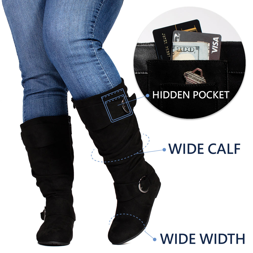 """Wide Calf & Wide Width"" Wedge Knee High Boots BLACK"