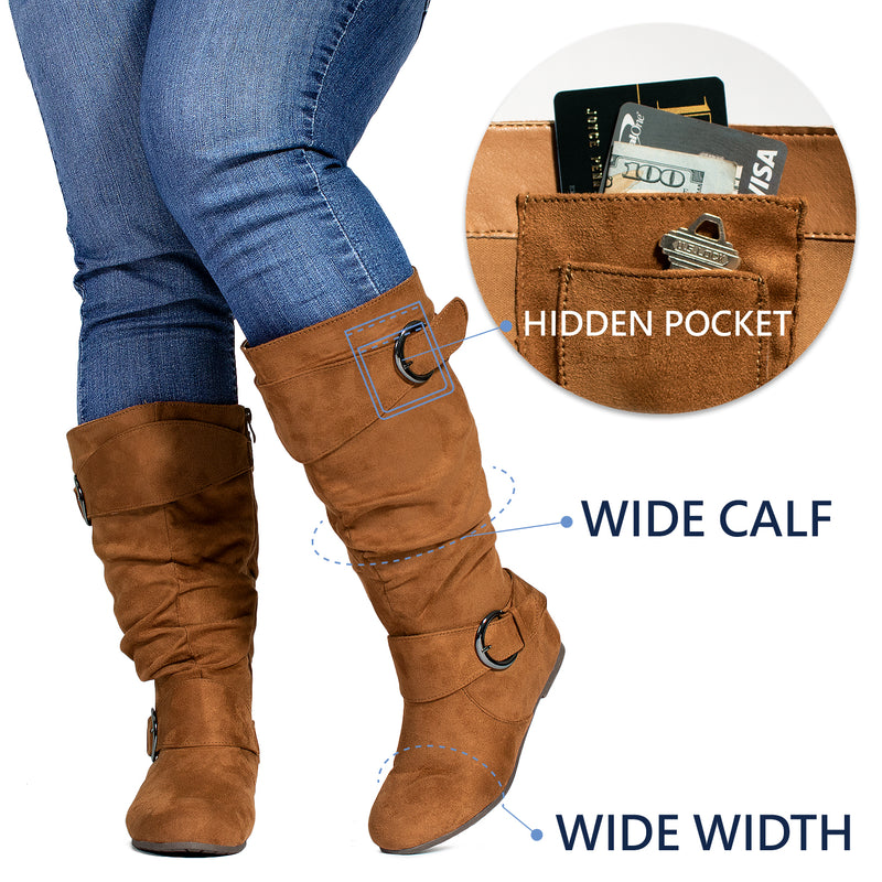 """Wide Calf & Wide Width"" Wedge Knee High Boots CAMEL"