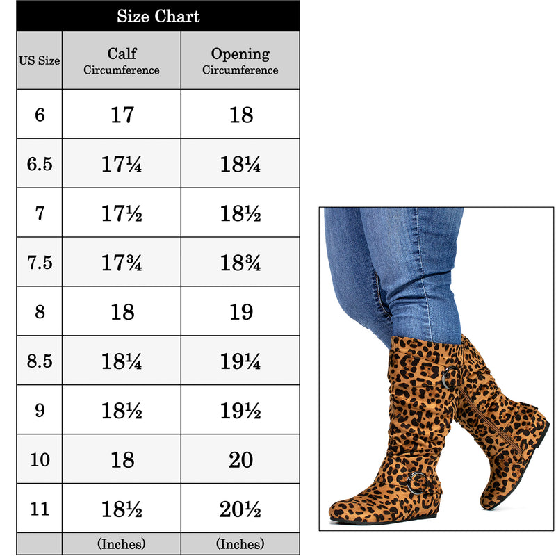 """Wide Calf & Wide Width"" Wedge Knee High Boots LEOPARD"