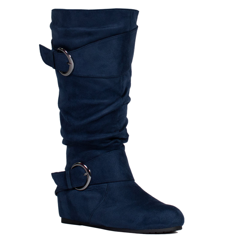 """Wide Calf & Wide Width"" Wedge Knee High Boots NAVY"