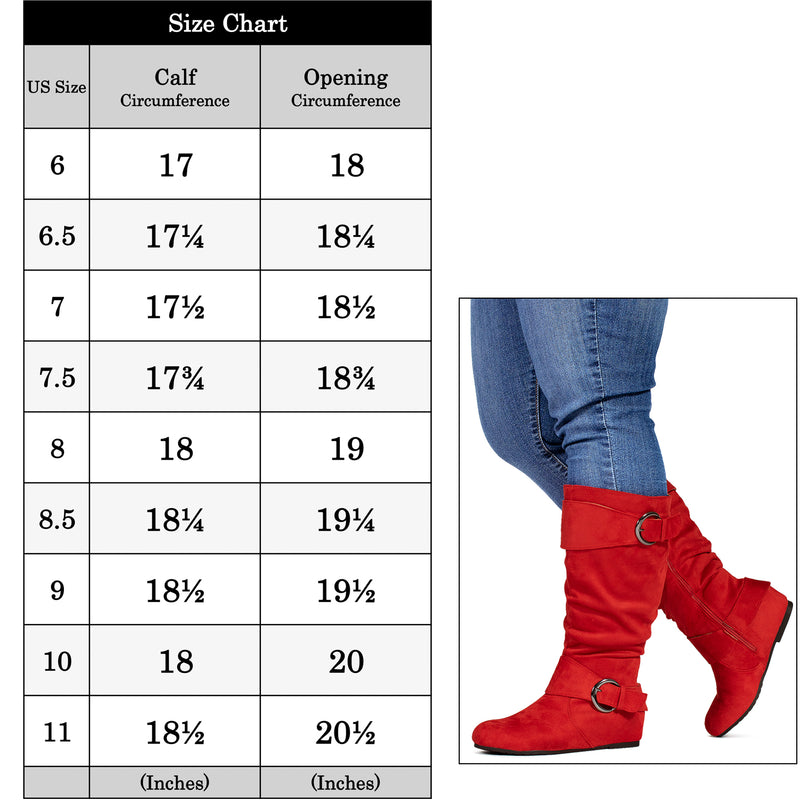 """Wide Calf & Wide Width"" Wedge Knee High Boots RED"