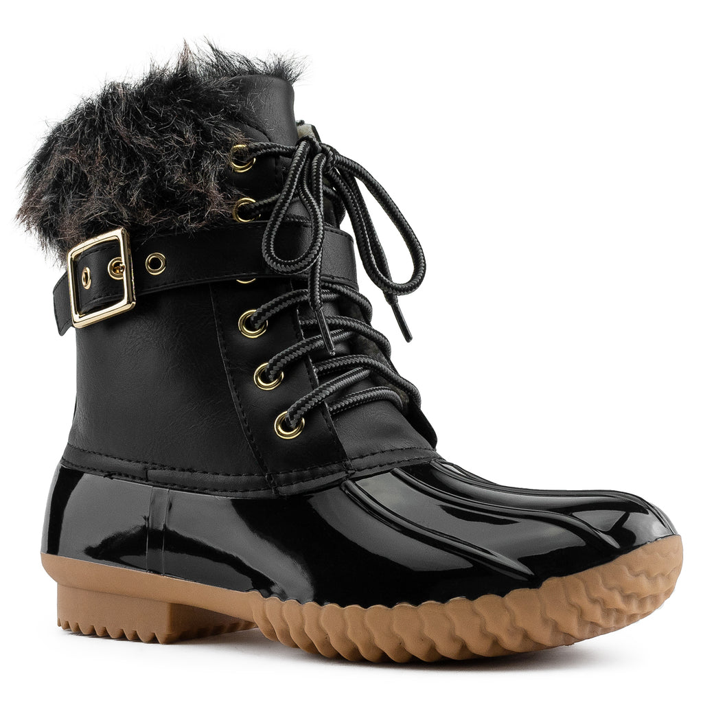 Water Resistant Faux Fur Fleece Lined Snow Boots BLACK