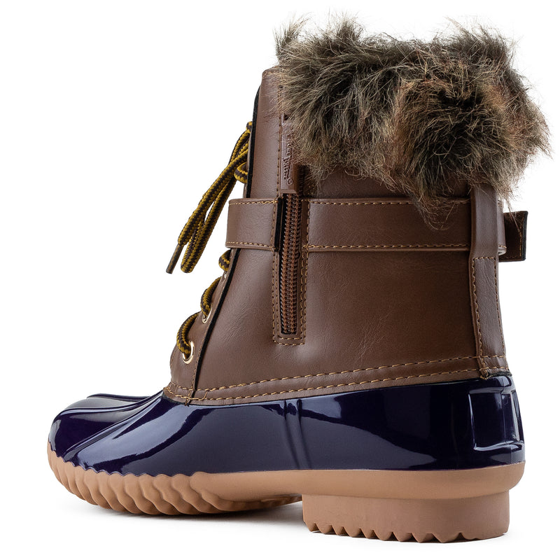 Water Resistant Faux Fur Fleece Lined Snow Boots BLUE