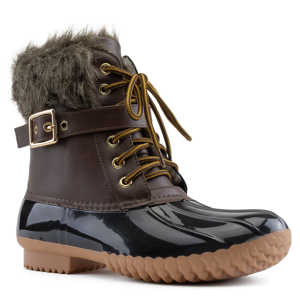 Water Resistant Faux Fur Fleece Lined Snow Boots BROWN