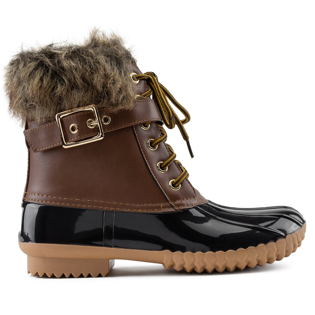 Water Resistant Faux Fur Fleece Lined Snow Boots TAN