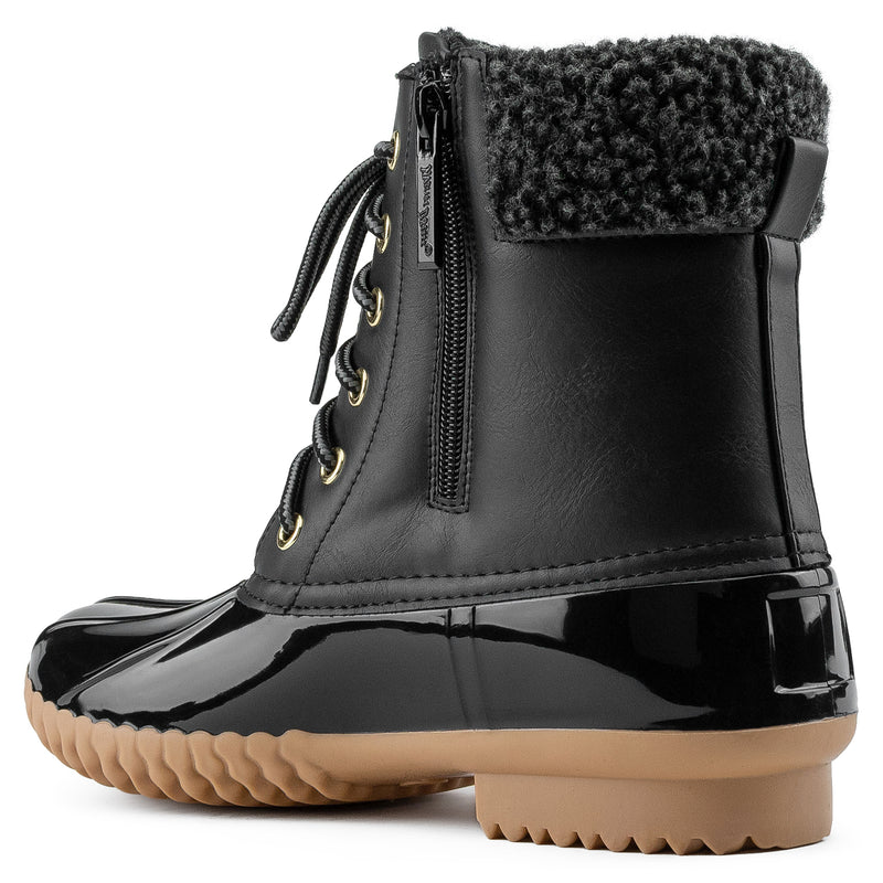 Water Resistant Fleece Lined Snow Boots BLACK
