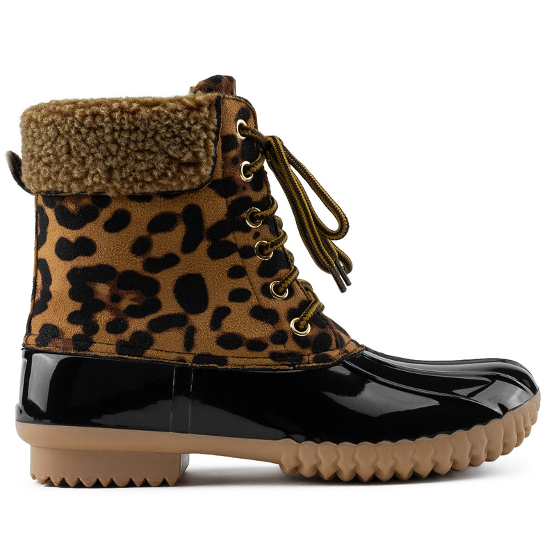 Water Resistant Fleece Lined Snow Boots LEOPARD