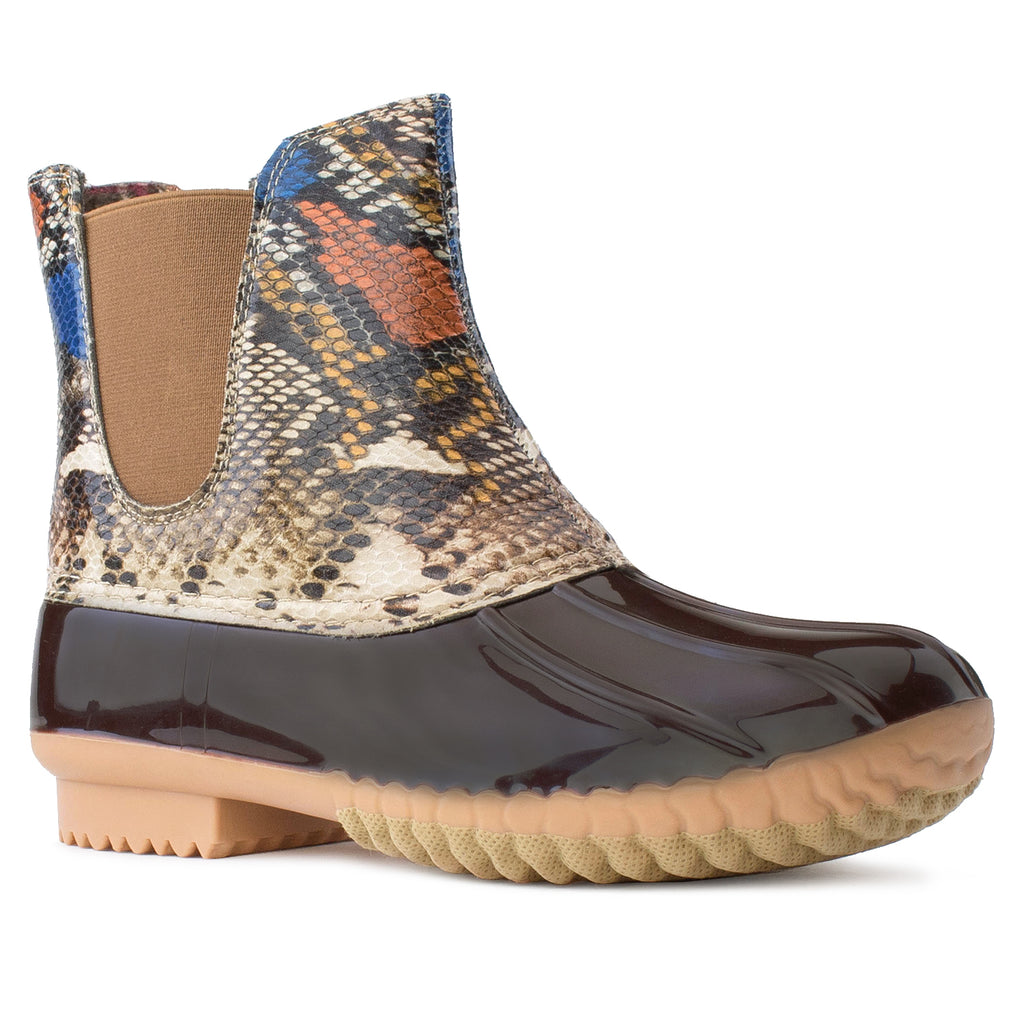 Water Proof Chelsea Ankle Rain Duck Boots MULTI SNAKE