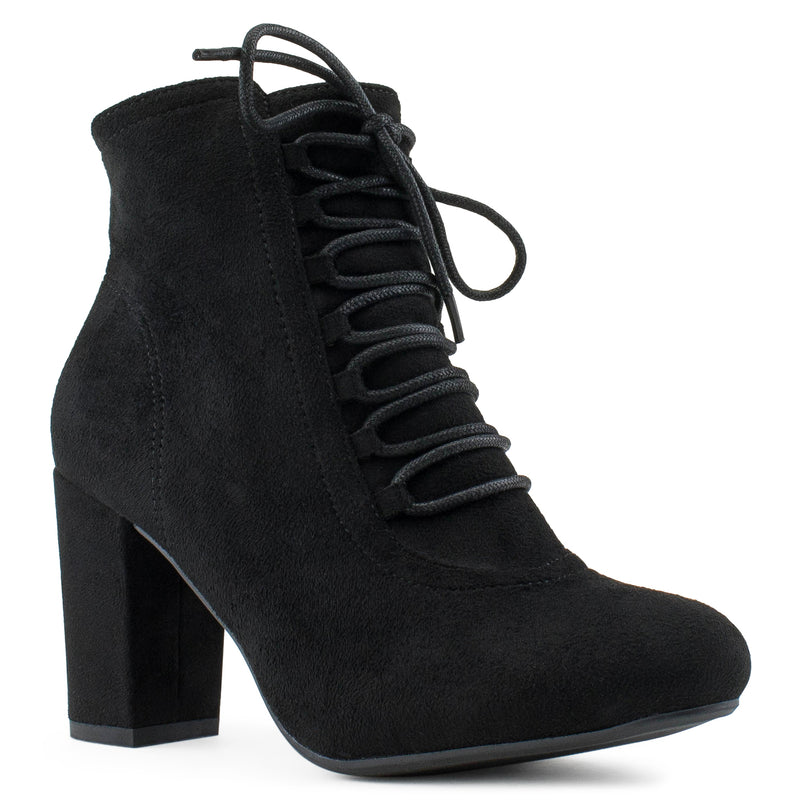 Women's Criss Cross Lace Up Chunky Heel Side Zip Dress Ankle Boots BLACK