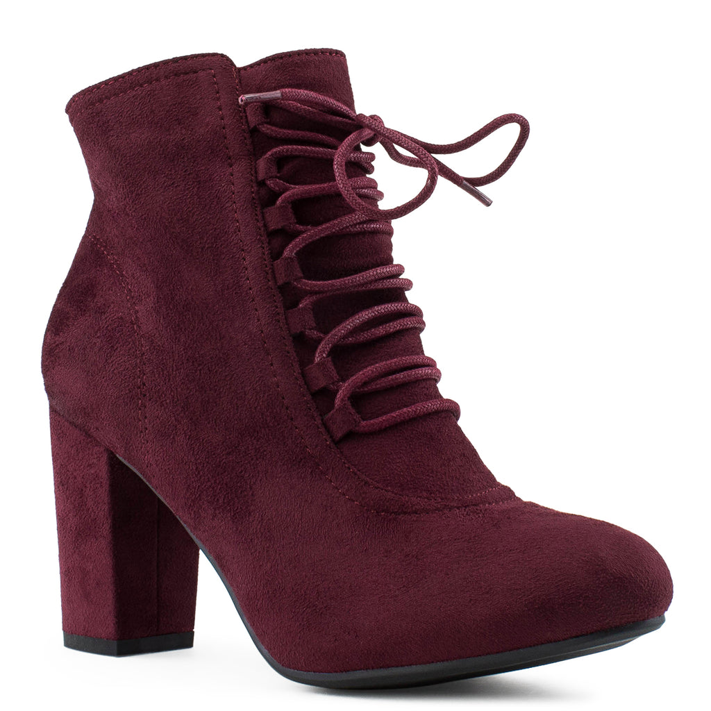 Women's Criss Cross Lace Up Chunky Heel Side Zip Dress Ankle Boots BURGUNDY