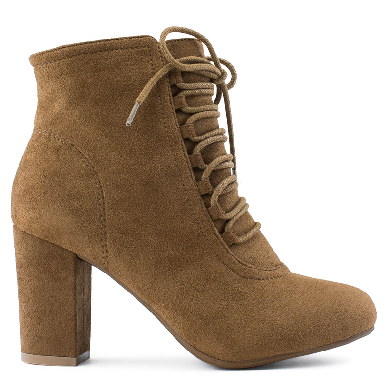 Women's Criss Cross Lace Up Chunky Heel Side Zip Dress Ankle Boots CAMEL