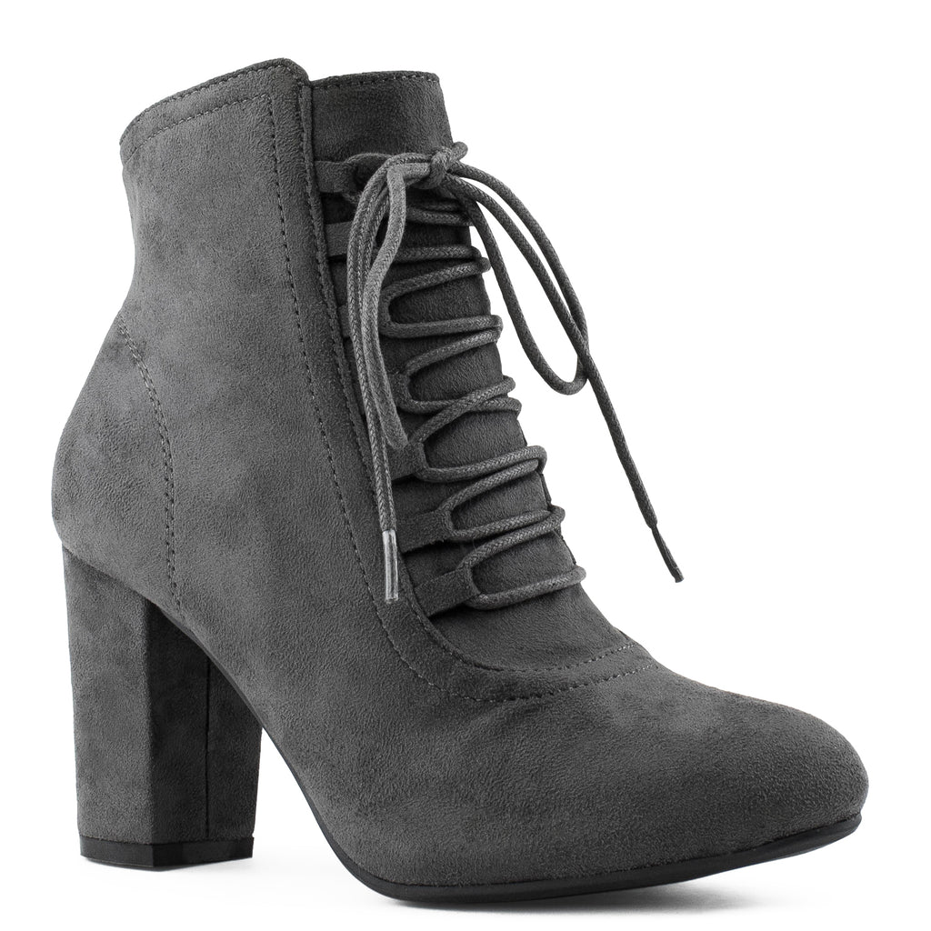 Women's Criss Cross Lace Up Chunky Heel Side Zip Dress Ankle Boots GREY