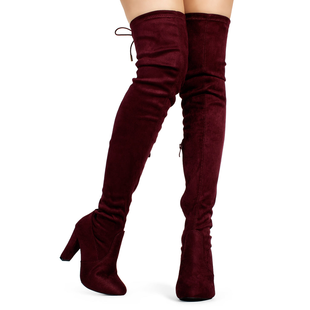 """Medium Calf"" Over The Knee Block Chunky Heel Pointy Boots BURGUNDY"