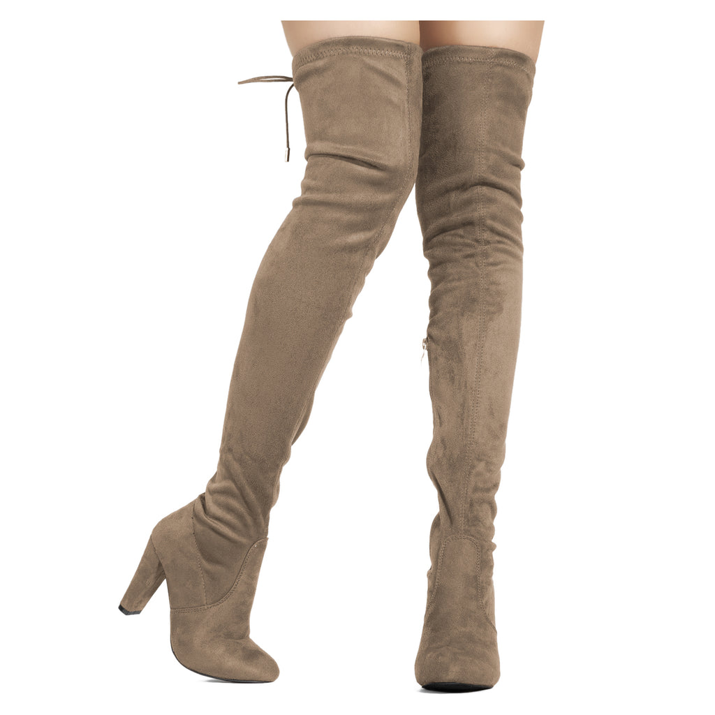 """Medium Calf"" Over The Knee Block Chunky Heel Pointy Boots TAUPE"