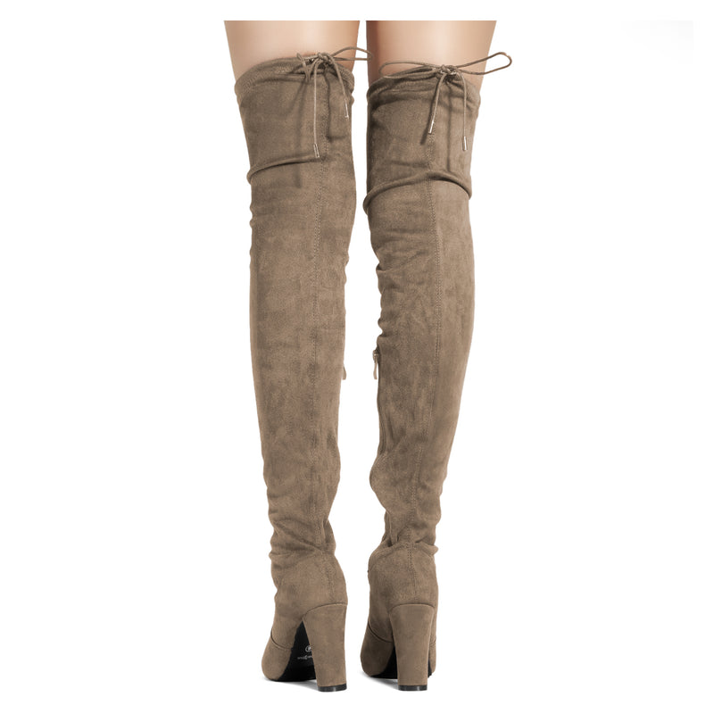 Women's Vegan High Heel Side Zipper Thigh High Over The Knee Boots TAUPE