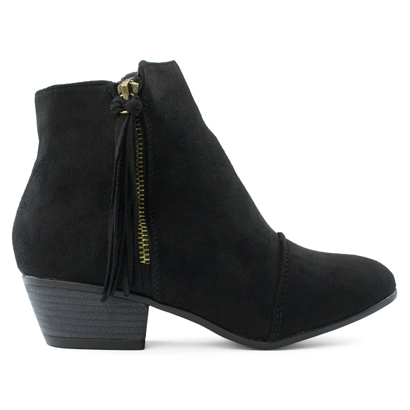 Fringe Accent Low Chunky Heel Western Inspired Ankle Boots BLACK
