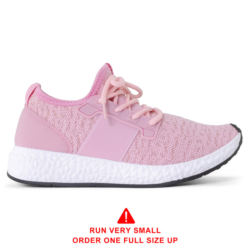 ROF Lightweight Flyknit Low Top Lace Up Sneaker in Pink