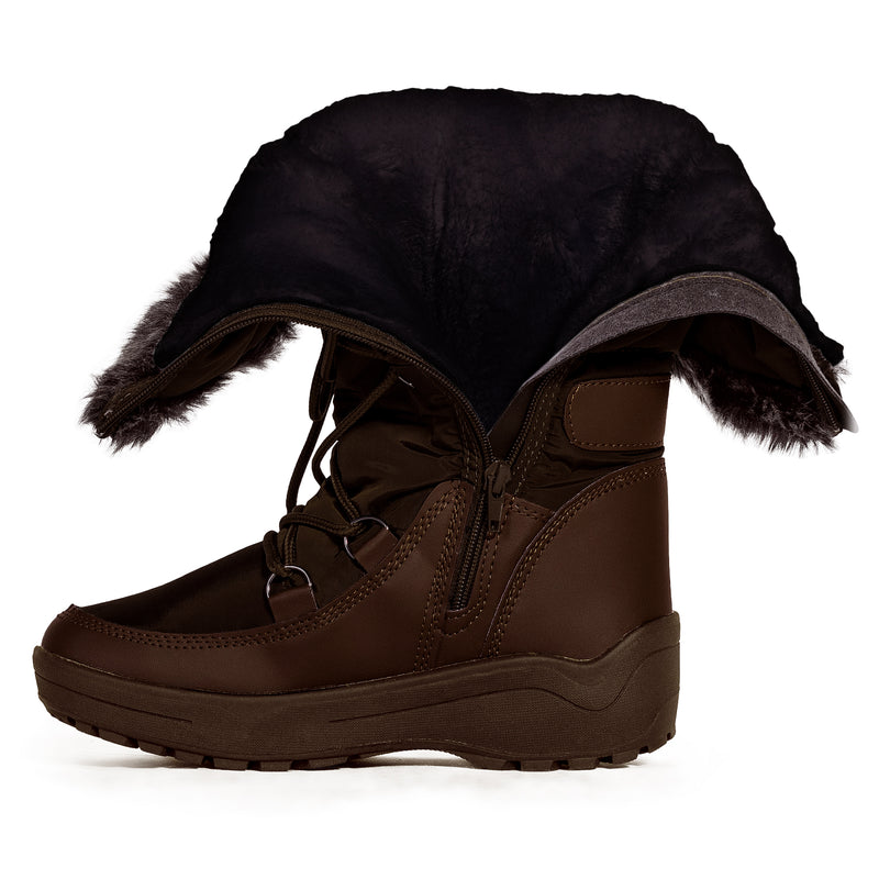 Waterproof Warm Fur Lined Cold Weather Snow Rain Boots BROWN